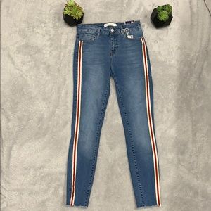 Zara Mid Rise Skinny Jeans with red/white stripe